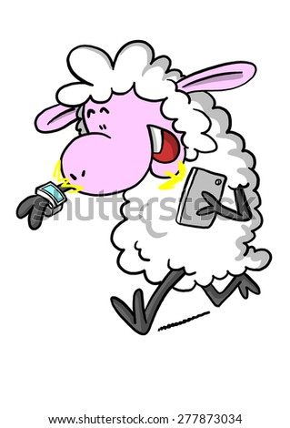 Sheep with smart watch and phone  - stock photo