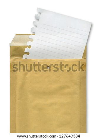 Sheet emerging from an envelope over white background