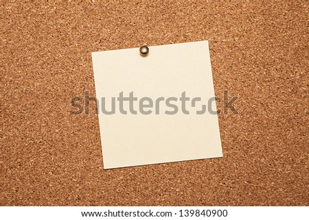 Sheet for notes on a cork board