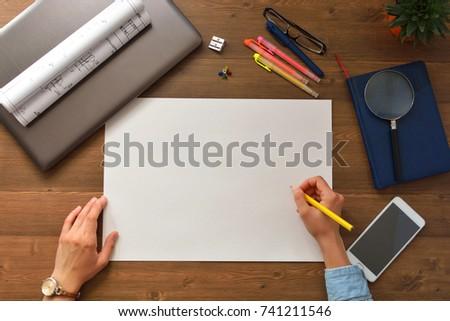 sheet clean white paper designer hands stock photo edit now