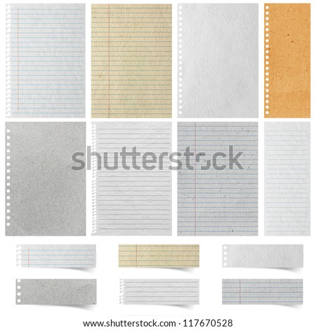 Sheet of Lined Paper and note paper craft stick, isolated on white background ( Objects with Clipping Paths for design work ) - stock photo