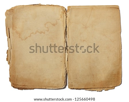 sheet of old paper isolated on a white background - stock photo