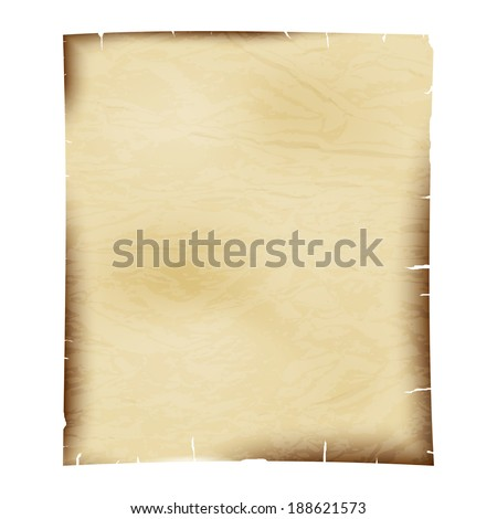 Sheet of old paper on a white background