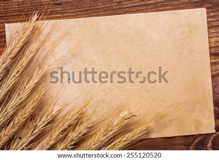 sheet of old paper with ears of wheat on vintage wooden board and copyspace for your text  - stock photo