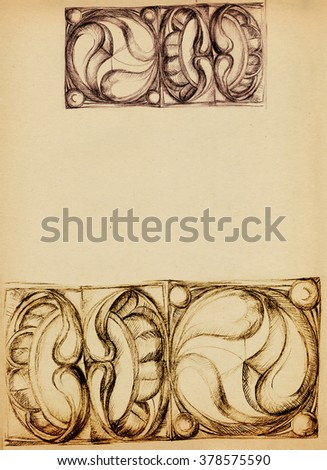 Sheet of old paper with ornaments, draw a pencil - stock photo