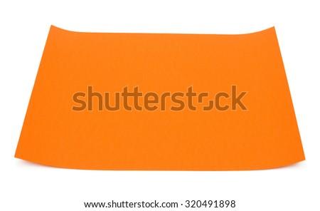 Sheet of orange paper isolated on white background - stock photo