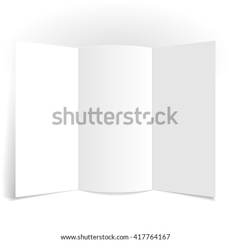 Sheet of paper folded in two places. Mock Up Template.
