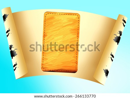Sheet of paper for an inscription on a blue background - stock photo
