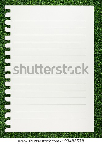 Sheet of paper note on green grass texture background.