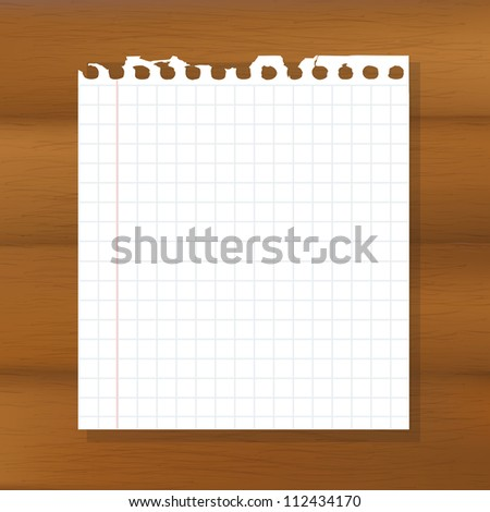 Sheet Of Paper On Wooden Background - stock photo