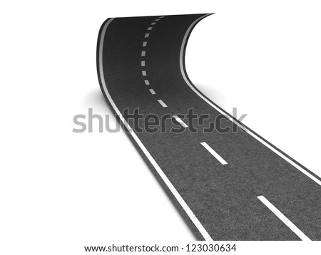 Sheet of road bending up - stock photo