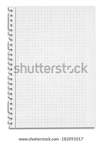 sheet of squared paper with shadow over white background