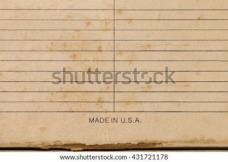 Sheet of stained lined paper, Vintage Grungy Lined Paper - stock photo