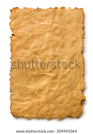 Sheet of vintage paper on white background - stock photo