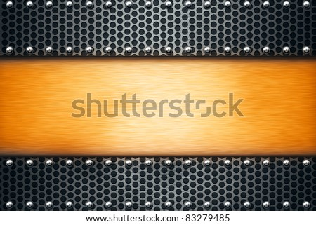 Sheets of metal riveted together. Copy space - stock photo