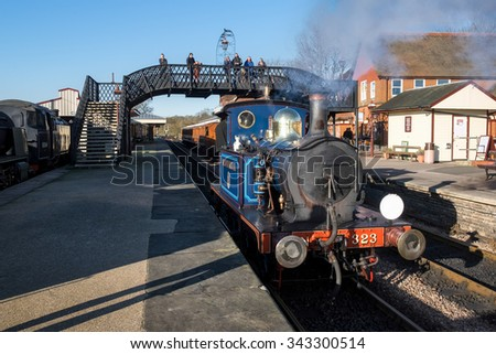 SHEFFIELD PARK, EAST SUSSEX/UK - NOVEMBER 22 : Bluebell Steam Train at Sheffield Park Station East Sussex on November 22, 2015. Unidentified people.