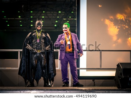 Sheffield, UK - June 11, 2016: Cosplayers dressed as the Batman and Joker characters from 'Batman' at the Yorkshire Cosplay Convention at Sheffield Arena