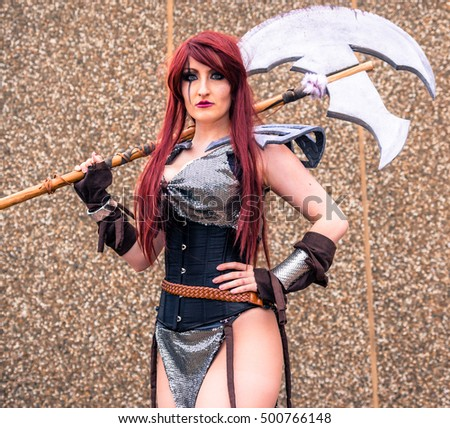 Sheffield, UK - June 11, 2016:  Female cosplayer posing at the Yorkshire Cosplay Convention at Sheffield Arena