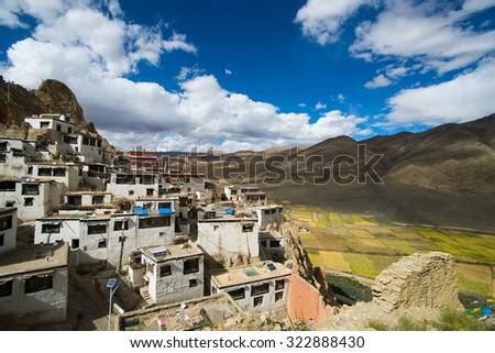 Shegar Dzong (Chode Monastery) in Tingri in Tibet, China - stock photo