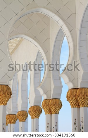 Sheik Zayed Mosque, Abu Dhabi, United Arab Emirates - CIRCA August 1, 2015: The interior of Sheik Zayed Mosque is decorated with fine architecture and grandeur design