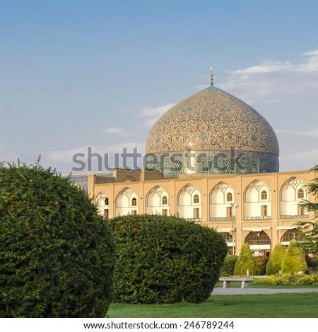 Sheikh Lutfollah mosque in Naqsh-e Jahan square, Isfahan, Iran - stock photo