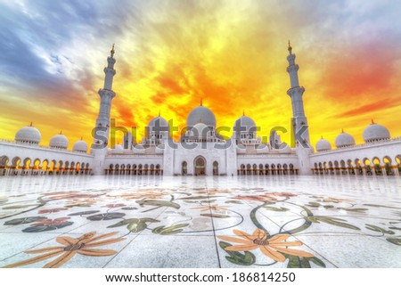 Sheikh Zayed Grand Mosque in Abu Dhabi at sunset, UAE - stock photo