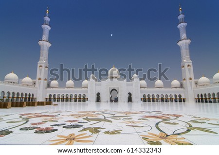 Sheikh Zayed Grand Mosque in Abu Dhabi, the capital city of United Arab Emirates.