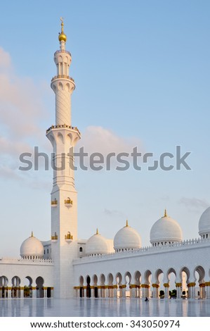Sheikh Zayed Grand Mosque in Abu Dhabi UAE - stock photo