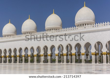 Sheikh Zayed Grand Mosque located in Abu Dhabi - capital city of United Arab Emirates. Mosque was initiated by late President of UAE Sheikh Zayed bin Sultan Al Nahyan. It is largest mosque in UAE.
