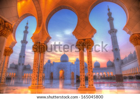 sheikh zayed mosque, abu dhabi, uae, middle east - stock photo