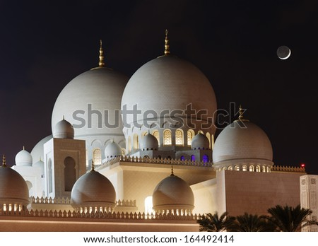 Sheikh Zayed Mosque, Abu Dhabi, UAE, night view - stock photo