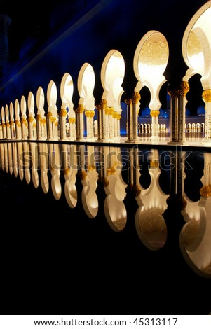 Sheikh zayed mosque in Abu Dhabi, UAE, Middle East - Columns detail - stock photo