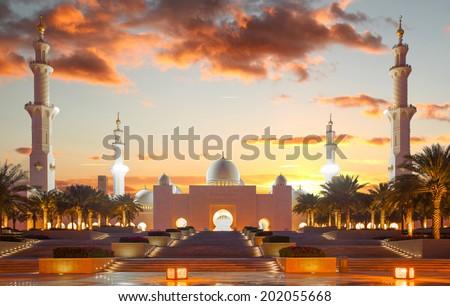 Sheikh Zayed mosque in Abu Dhabi, United Arab Emirates, Middle East - stock photo
