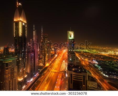 Sheikh Zayed Road by night, Dubai (United Arab Emirates) - stock photo