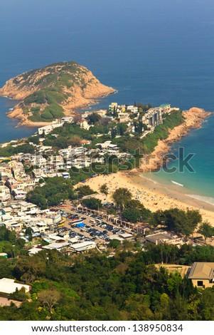 Shek O Village, a village along the shores of Hong Kong. - stock photo