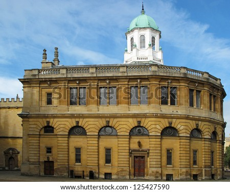 Sheldonian Theatre, University of Oxford, United Kingdom. It's used for music concerts, lectures and university ceremonies, but not for drama. - stock photo
