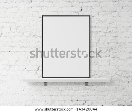 shelf and blank poster - stock photo