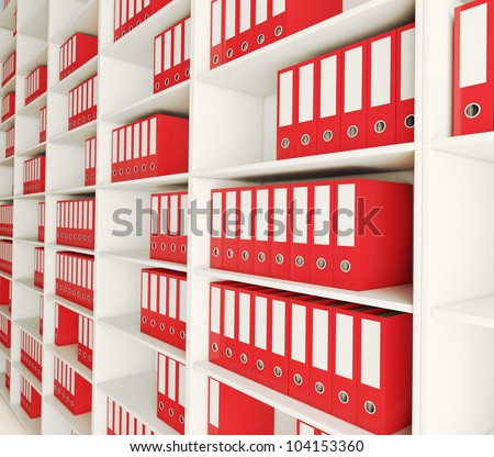 Shelf archive folder. 3d image. 3d image. - stock photo
