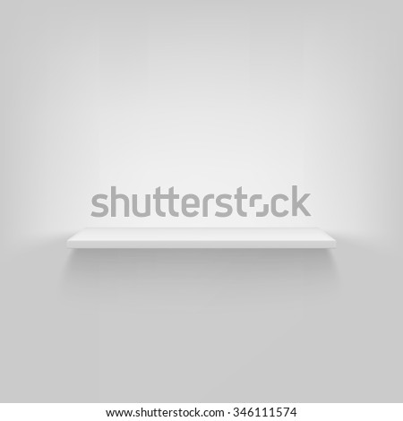 Shelf attached to the wall, white background,