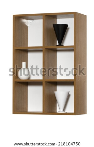 Shelf board with vases isolated on white background with clipping path - stock photo