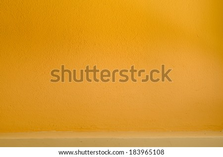 Shelf built-in Yellow color cement texture background - stock photo
