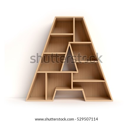 shelf font 3d rendering letter A