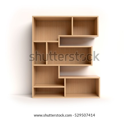 shelf font 3d rendering letter E