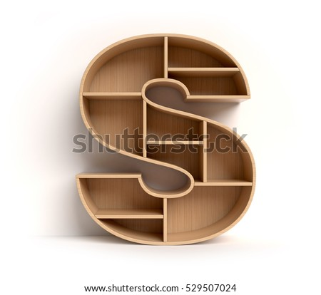 shelf font 3d rendering letter S