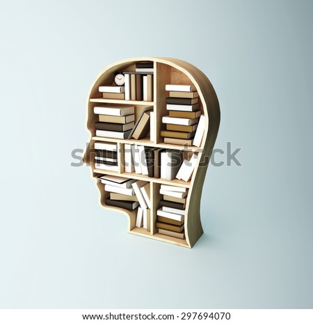 shelf in form of head with book - stock photo