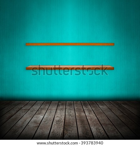 shelf in room interior with blue wallpaper background - stock photo