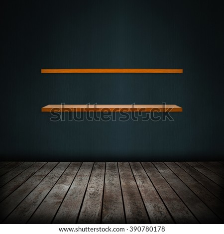 shelf in room interior with gray wallpaper background - stock photo