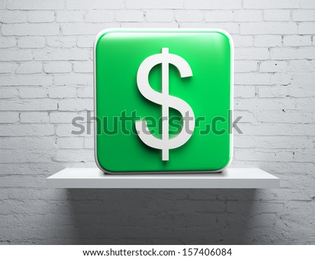 shelf on brick wall with dollar cube