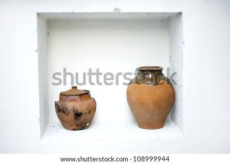 shelf pottery - stock photo