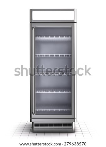 Shelf refrigerator isolated on white. Front view - stock photo
